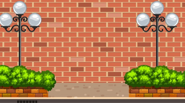 Achtergrondscène met brickwall en straatlantaarns