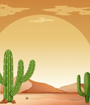 Achtergrondscène met cactus in woestijn