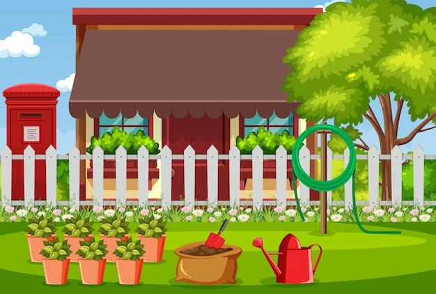 Achtergrondscène met huis en bloemen in de tuin