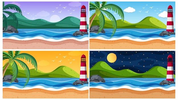 Achtergrondscène met oceaan op verschillende tijden