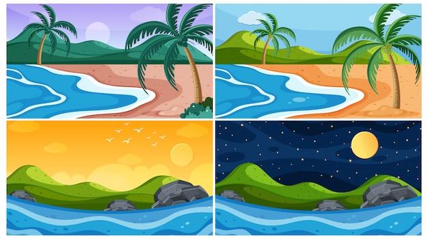 Achtergrondscène met stranden op verschillende tijdstippen
