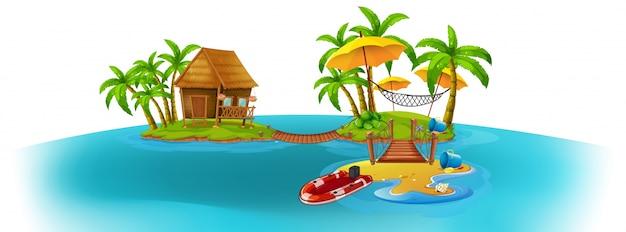 Achtergrondscène met twee eilanden
