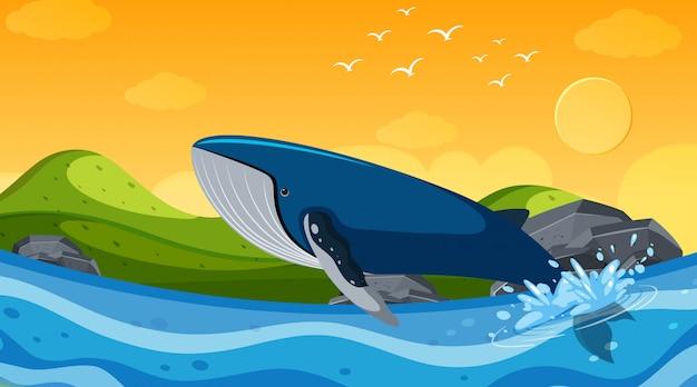Achtergrondscène met walvis in de oceaan