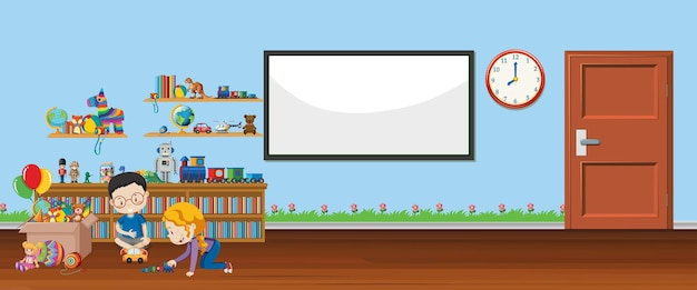 Achtergrondscène met whiteboard en speelgoed