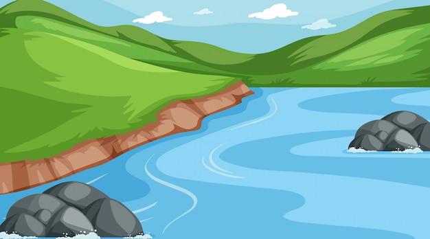 Achtergrondscène van bergen en rivier