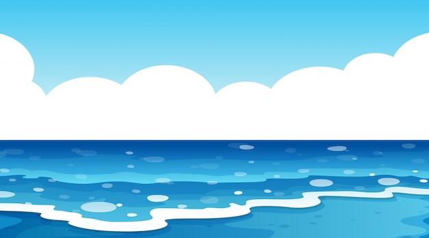 Achtergrondscène van blauwe oceaan