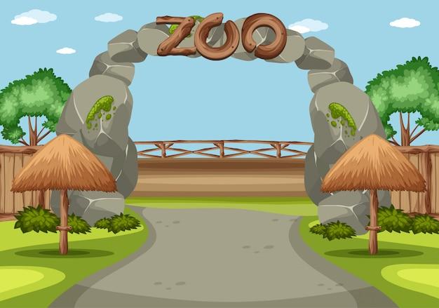 Achtergrondscène van dierentuin met groot teken vooraan
