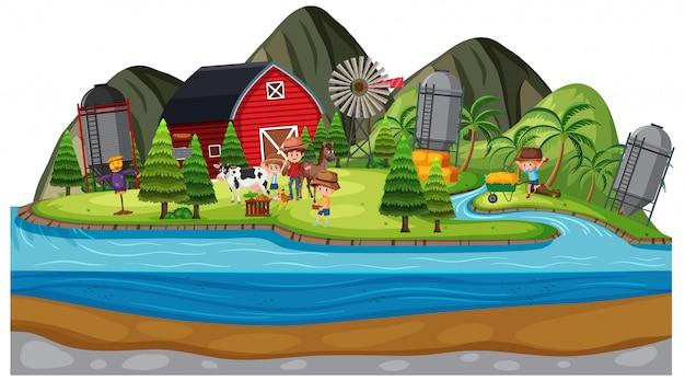 Achtergrondscène van landbouwers en dieren op het landbouwbedrijf