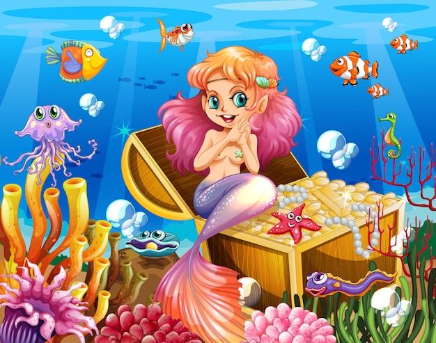 Achtergrondscène van onderwater met zeemeermin en schat