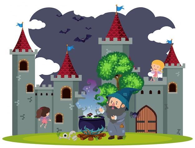 Achtergrondscène van tovenaar bij het kasteel