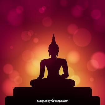 Achtergrondsilhouet van het standbeeld van boedha