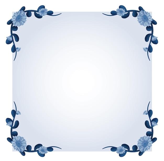 Achtergrondsjabloon met blauwe bloemen