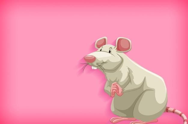 Achtergrondsjabloon met effen kleur en witte muis
