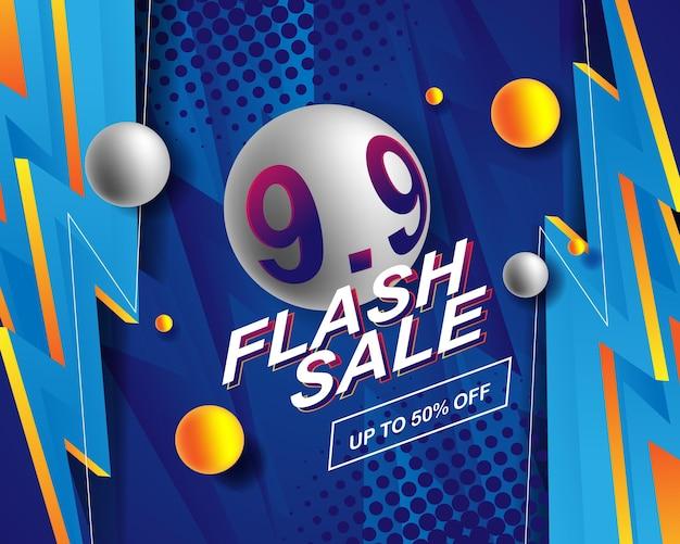 Achtergrondsjabloon voor flash sale-banner voor 9.9-verkoopevenement
