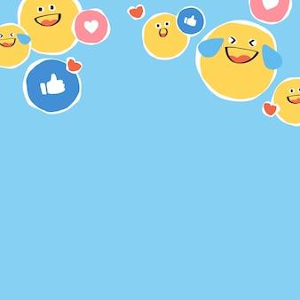 Achtergrondvector van pictogrammen voor sociale media-expressie