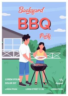 Achtertuin bbq-partij poster platte sjabloon. barbecue in eigen tuin voor tijd met het gezin. brochure, boekje conceptontwerp van één pagina met stripfiguren. vakantie recreatie evenement flyer, folder