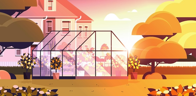 Achtertuin beplanting kas glazen oranjerie botanische tuin met bloemen en potplanten