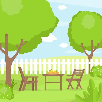 Achtertuin met planten en tuinmeubelen