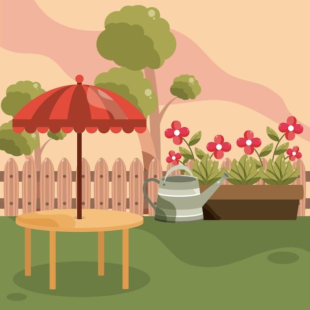 Achtertuin tafelparaplu