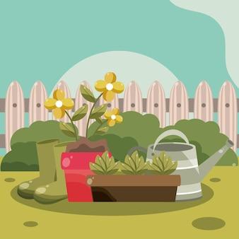 Achtertuin tuin bloemen