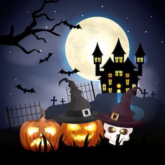 Achtervolgd kasteel met pompoenen in halloween-scèneillustratie