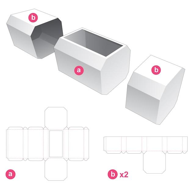Achthoekige doos en 2 deksels gestanst sjabloon