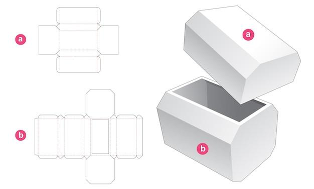 Achthoekige doos en deksel gestanst sjabloon