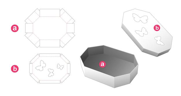 Achthoekige doos en deksel met vlindervensters gestanst sjabloon