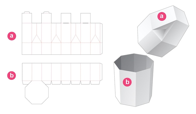 Achthoekige doos met afgeschuind deksel gestanst sjabloon
