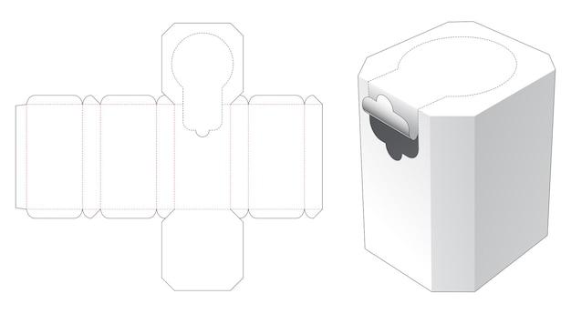 Achthoekige doos met gestanste sjabloon met ritssluiting