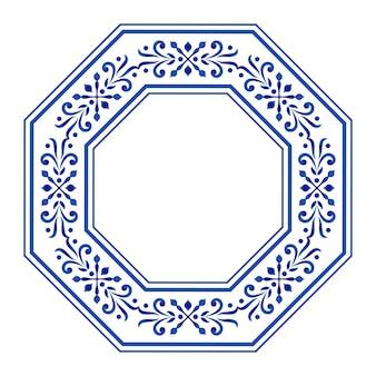 Achthoekige rand, keramiekkader, blauwe en witte bloemen decoratieve ronde,