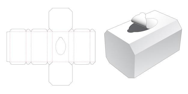 Achthoekige tissuedoos met gestanste sjabloon met ritssluiting