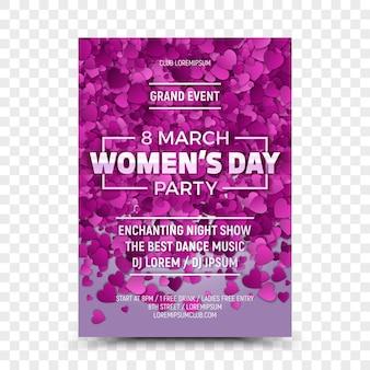Achtste maart women's day party flyer-sjabloon