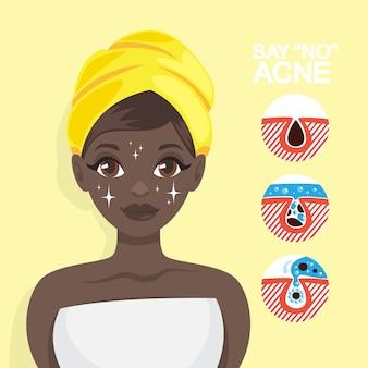 Acnebehandeling met gezichtsmasker. idee van schoonheid