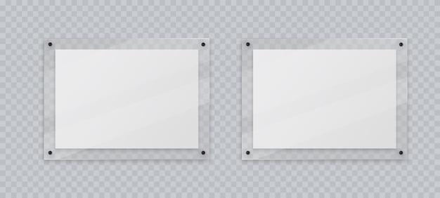 Acryl frame mockup twee horizontale glasplaat voor poster van fotorealistische mockup geïsoleerd