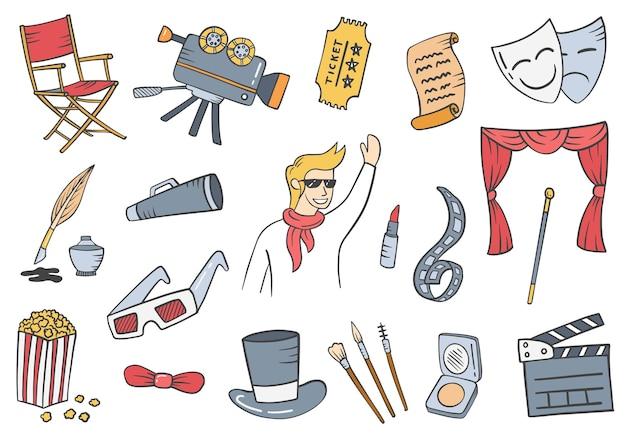 Acteur banen beroep doodle handgetekende set collecties met platte kaderstijl