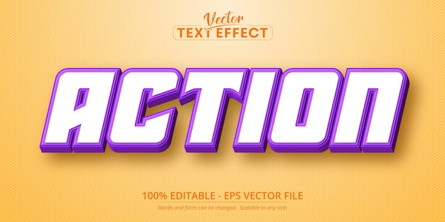 Actie tekst cartoon stijl bewerkbaar teksteffect