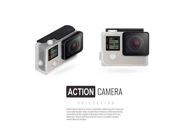 Actiecamera camera isometrisch geïsoleerde camera op witte achtergrond go pro