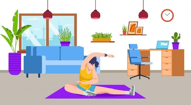 Actief meisje doet yoga, training, sport oefening, fitness thuis woonkamer illustratie. sportactiviteit en een gezonde levensstijl, training. gewichtsverlies en sportief lichaam, thuis vrouw uitrekken.
