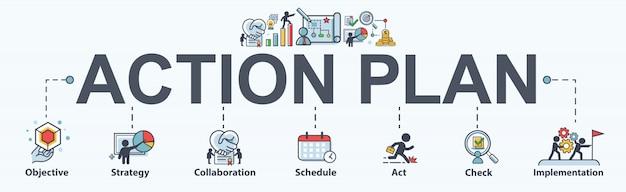 Actieplan banner web pictogram voor business en marketing.