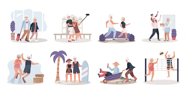 Actieve bejaarde echtpaar genieten van het leven, illustratie