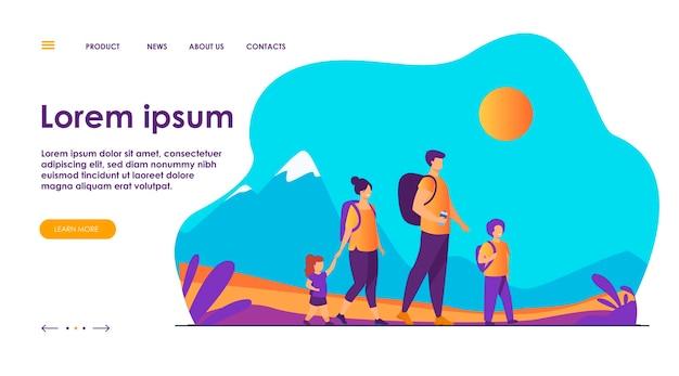 Actieve en gelukkige familie buiten wandelen. aantal toeristen met kinderen wandelen, camping rugzakken dragen. vector illustratie voor vakantie, bergtochten, activiteit, lifestyle concept