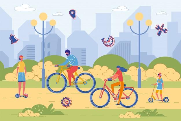 Actieve familie rijden fiets en scooter in park.
