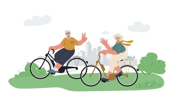 Actieve grootvader grootmoeder rijden ebike in park ontspannen actieve outdoor senioren leven zomeractiviteit
