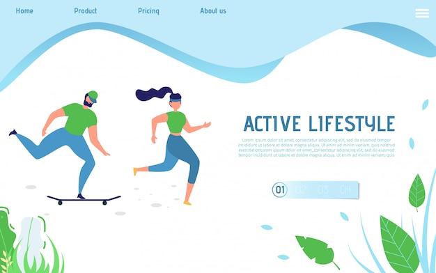 Actieve levensstijl-bestemmingspagina voor sportieve mensen