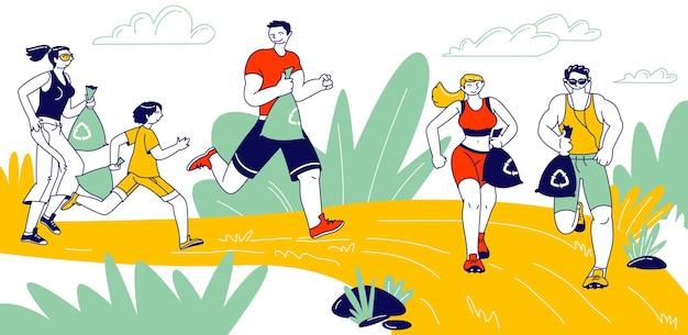 Actieve mensen die zwerfvuil oprapen tijdens het ploggen. karakters van mannen, vrouwen en kinderen rennen in de schoonmaakomgeving van het natuurpark. gezonde levensstijl en ecologie beschermingsconcept. lineaire vectorillustratie