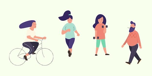 Actieve mensen gezonde levensstijl set van vector platte stripfiguren