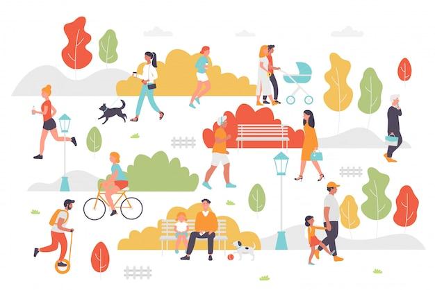 Actieve mensen in de zomerparkillustratie. paar stripfiguren of familie met kind wandelen fietsen, zittend op een bankje, spelen en joggen. outdoor stadspark activiteit op wit