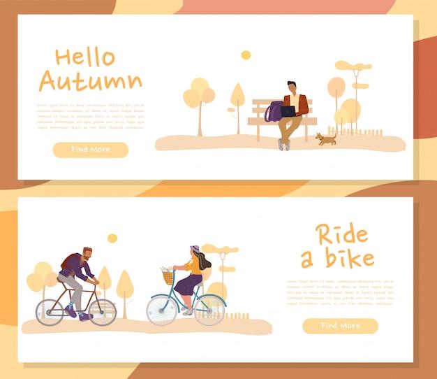 Actieve mensen recreatie in herfst koptekst set