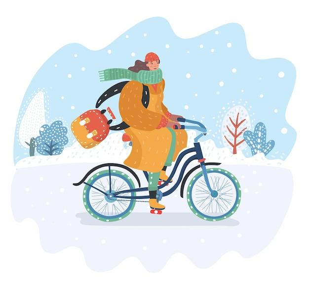 Actieve modieuze vrouw op een vintage fiets